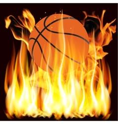 Flames and basketball vector