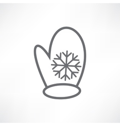White mitten with a snowflake vector