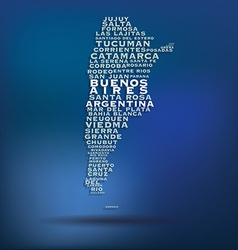 Argentina map made with name of cities vector