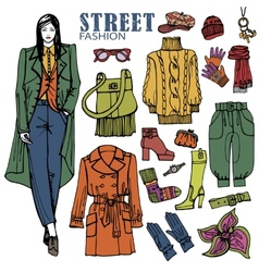 Fashion girl and street clothing setcolored vector