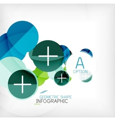 Glossy circle geometric shape info background vector