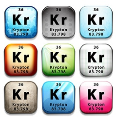 A button showing the element krypton vector