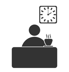 Business office coffee break flat icon isolated on vector