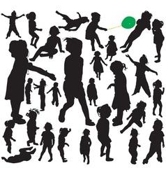 Little girl silhouettes vector