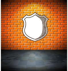 Shield on the brick wall vector