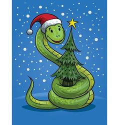 Christmas snake cartoon vector