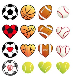 Sport balls and hearts set vector