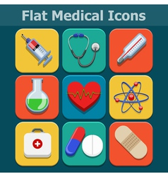 Medical flat color icons set vector