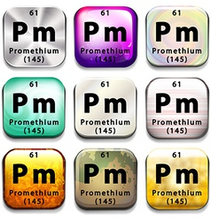A button showing the element promethium vector