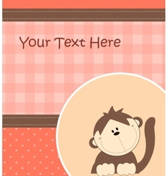 Card with cartoon monkey vector