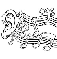 Doodle ear music notes vector