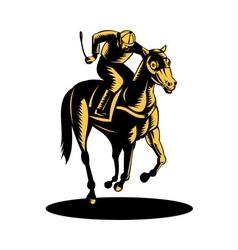 Horse and jockey racing woodcut vector