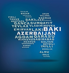 Azerbaijan map made with name of cities vector