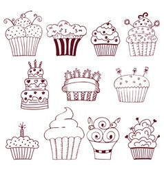 Sketchy set of hand drawn cupcakes vector
