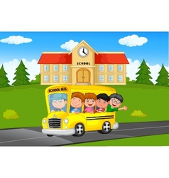 School kids riding a school bus vector