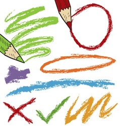 Doodle colored pencil marks vector
