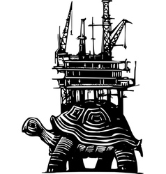 Turtle oil rig vector