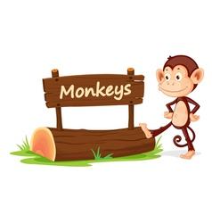 Cartoon zoo monkey sign vector