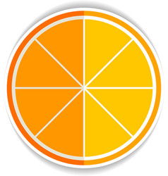 Lemon orange fruit flat icon yellow ripe orange vector