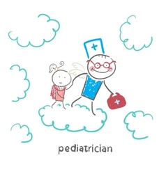 Pediatrician with baby runs on clouds vector
