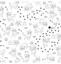 Cartoon cats seamless pattern vector