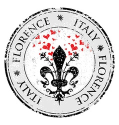 Love heart to the fleur de lis of florence travel vector