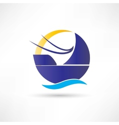 Sailboat sea sun icon vector