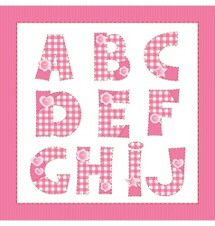 Pink fabric letters a b c d f g h i j vector