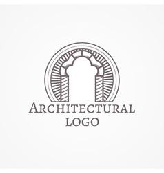 Trefoil arch icon with text vector