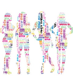 Women silhouettes patterned in advertisement vector