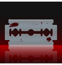 Razor blade stained with blood vector