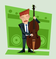 Smooth and elegant jazz contra bass player vector