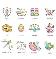 12 zodiac constellation mascot icon the west vector