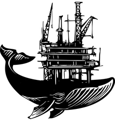 Whale oil rig vector