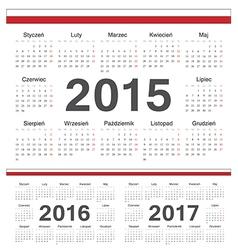 Polish circle calendars 2015 2016 2017 vector