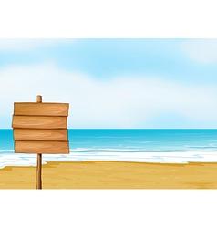 A blank wooden signboard vector