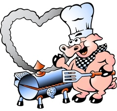 Hand-drawn of an chef pig making bbq vector