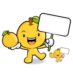 Pear mascot the hand is holding a picket and fruit vector