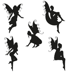 5 fairy silhouettes vector