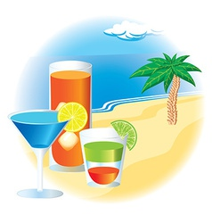 Beach with cocktails and palm tree vector