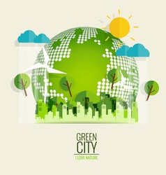 Eco friendly ecology concept with green eco earth vector