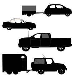 Transportation icons collection car silhouettes vector