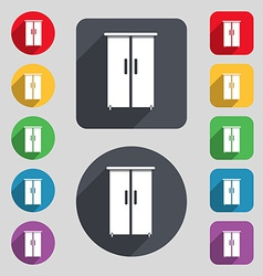 Cupboard icon sign a set of 12 colored buttons and vector