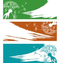 Banner set with dandelion vector