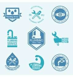 Plumbing labels icons set vector