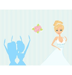 Young bride throwing wedding bouquet to vector