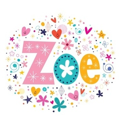 Zoe female name decorative lettering type design vector