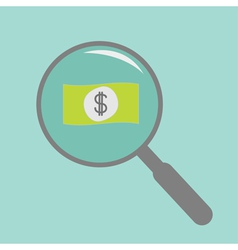 Magnifier and dollar bill flat design style vector