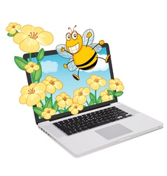 Laptop bees vector