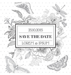 Save the date - floral shabby chic card vector